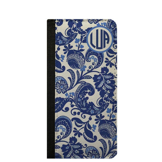Blue and white pattern monogram iPhone 4 iPhone 6 case personalized phone wallet case Galaxy Note 4 iPhone 6 plus iPhone 5C wallet Galaxy S4