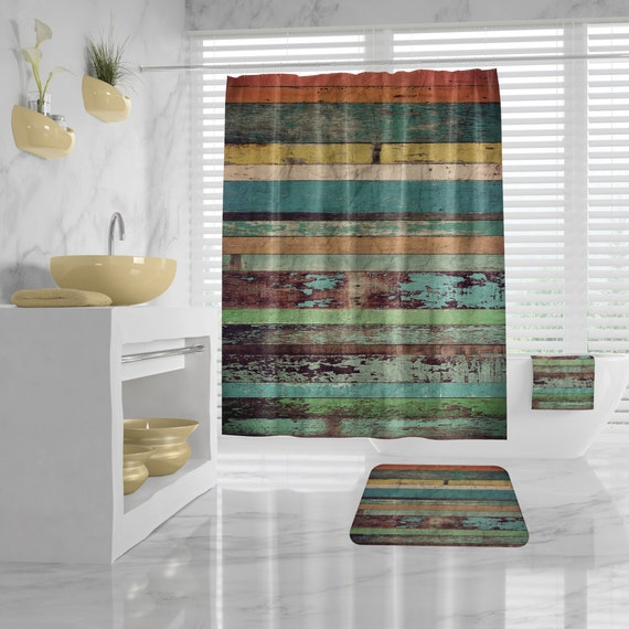 Distressed Wood Design Shower Curtain, Bathroom Mat, Bath Towel, Wooden Design Bathroom Set, Rustic Wood Pattern Bathroom Decor,Vintage Bath