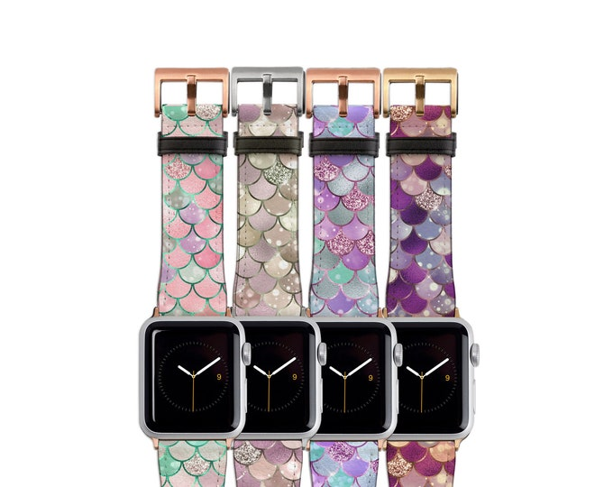 Mermaid Apple Watch Band Fish Scale Pattern in 4 different designs, 38mm, 40mm, 42mm, 44mm, fits all series, Colorful Mermaid Tail Gifts