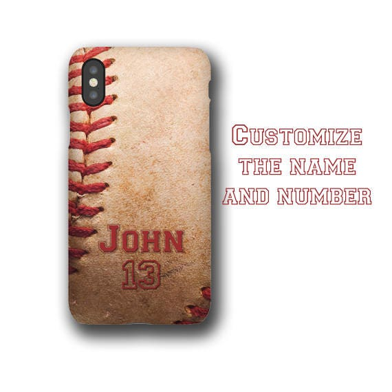 Baseball personalized iPhone 11 case customized with name & number iPhone 8 Samsung Galaxy S20 Plus Galaxy 20 Ultra Galaxy S8 gift for boys