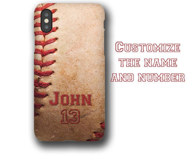 Baseball personalized iPhone 13 case customized with name & number iPhone 8 Samsung Galaxy S20 Plus Galaxy 20 Ultra Galaxy S8 gift for boys