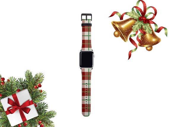 Christmas Plaid Apple Watch Band 38mm women, Holiday season plaid iwatch band, artificial leather, 42mm, fits all series, Apple watch strap