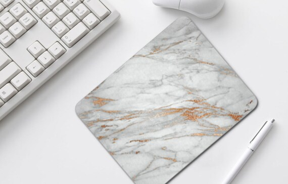 Mouse Pad, White Marble Coral, Rose Gold Home Office Decor, Mousepads, Desk Accessories, Mousepad, Mouse Mat, Computer Accessories, -1