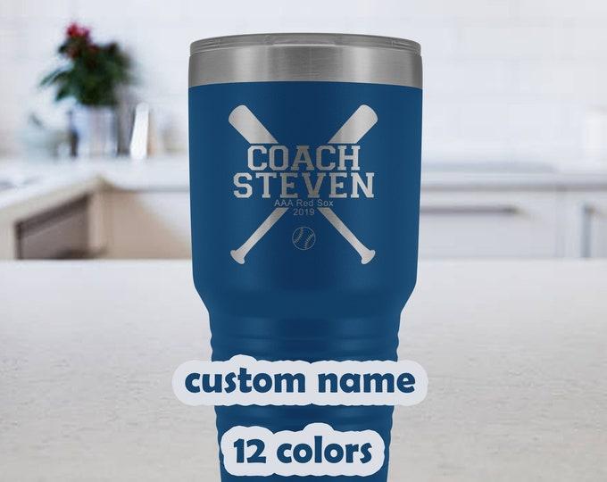 Baseball Coach Personalized Travel Mug - 30oz Stainless Steel Tumbler -customized Softball Coach gift -custom name gift for baseball coaches