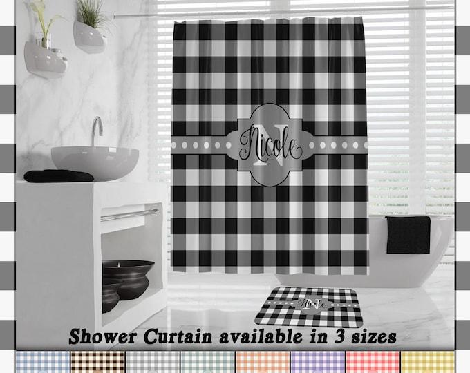 Buffalo Plaid Shower Curtain, Farmhouse Plaid Buffalo Check Bath Mat, monogram lumberjack shower curtain, Farmhouse Bath Decor, Hand Towels