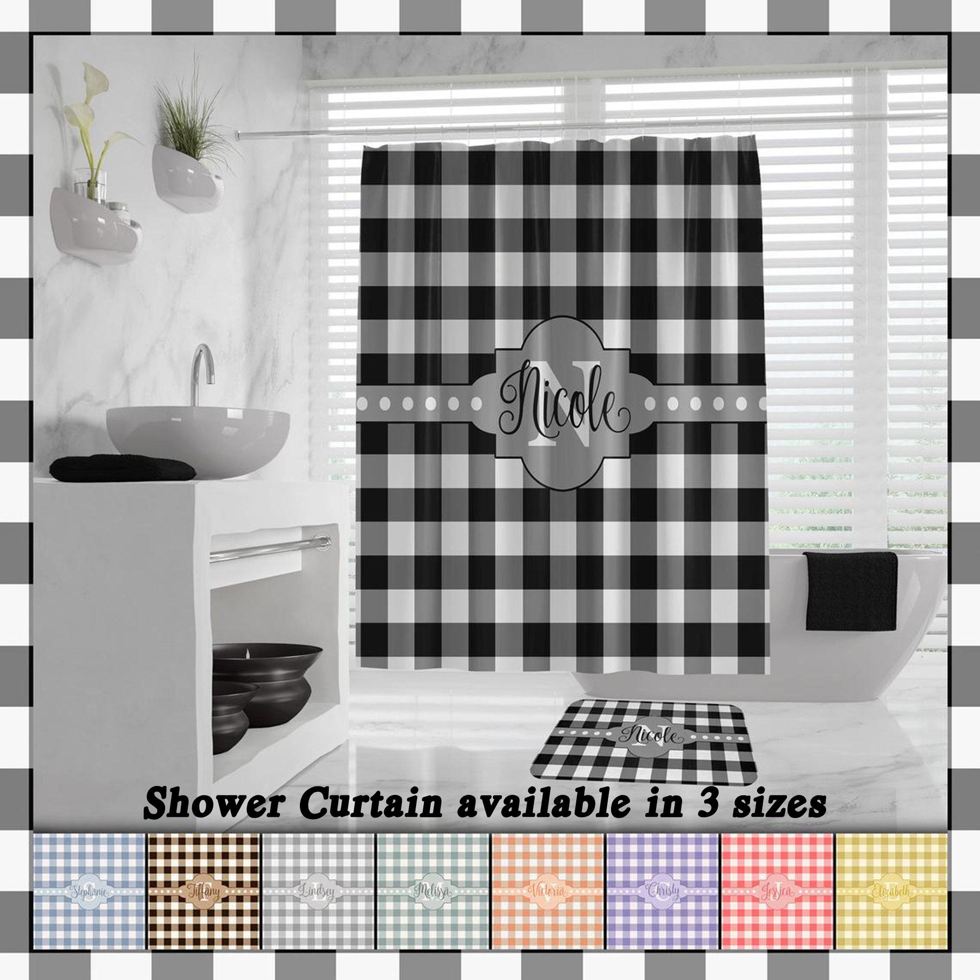 Buffalo Plaid Shower Curtain Farmhouse Plaid Buffalo Check Bath Mat Monogram Lumberjack Shower Curtain Farmhouse Bath Decor Hand Towels