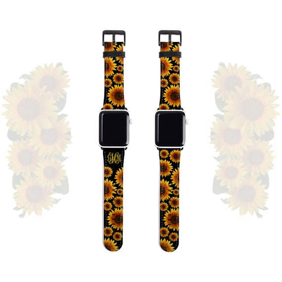 Apple Watch Band 38mm, monogram sunflower iwatch strap 42mm, artificial leather, fits all series incl. 4, personalized Apple watch band