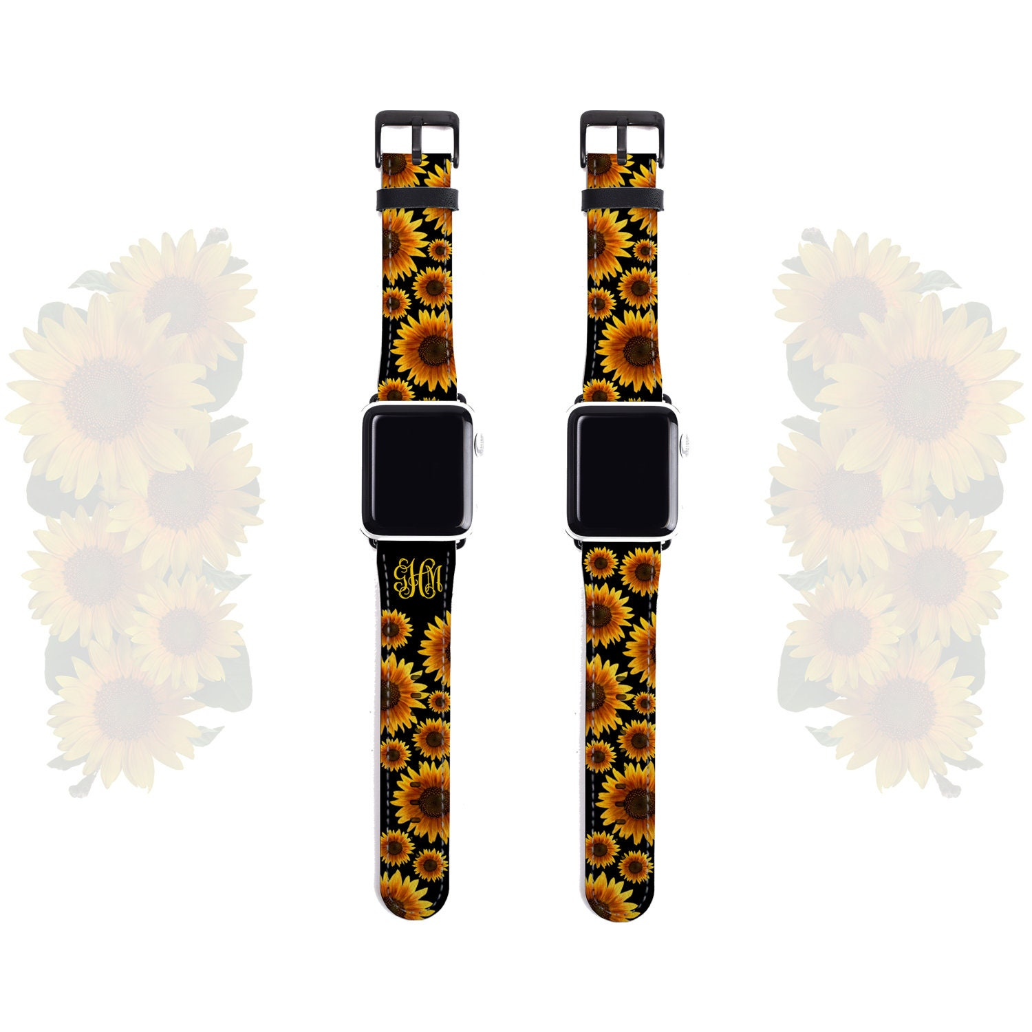 Apple Watch Band 38mm Monogram Sunflower Iwatch Strap 42mm Artificial Leather Fits All Series Incl 4 Personalized Apple Watch Band