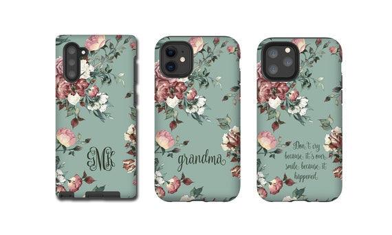 Vintage shabby chic roses monogram iPhone 11 Case iPhone 11 Pro Max iPhone XR iPhone xs max iPhone 8 Plus Galaxy S10 Galaxy Note 10 iPhone 7