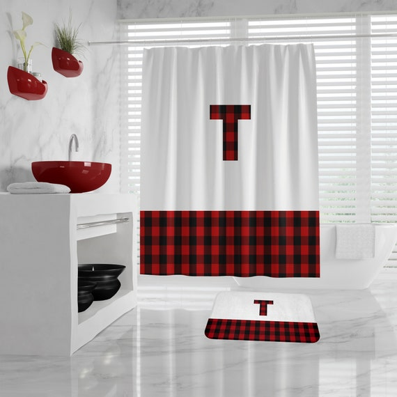 Red Buffalo Plaid Block Shower Curtain, Red Plaid Bath Mat personalized initial, red lumberjack custom shower curtain, plaid bathroom decor