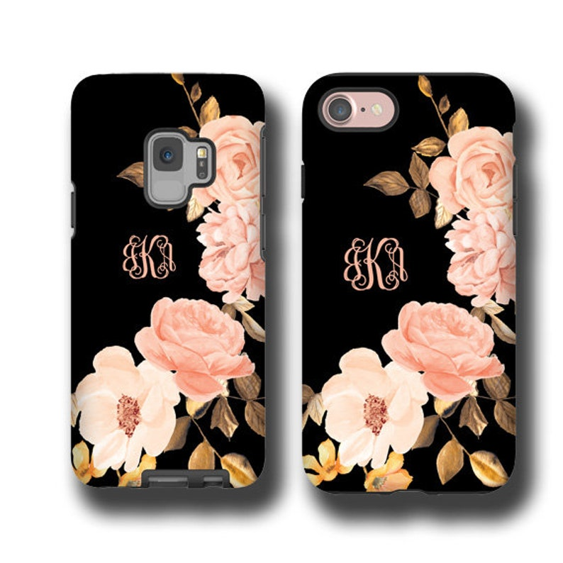 Monogram iphone 11 Pro max case golden peach roses iPhone xr image 0