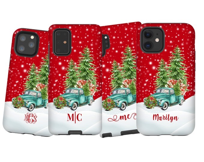 Custom Christmas Truck iPhone 13 Pro Max Case, Personalized Samsung Galaxy Note 20 Ultra, iPhone XR, Galaxy S10, iPhone 11,iPhone XS,Note 10