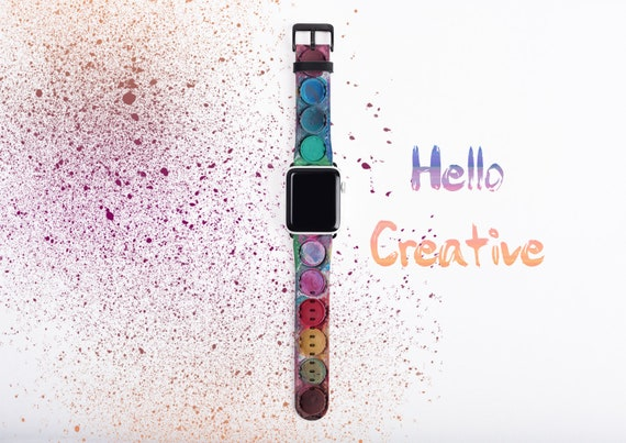 Apple Watch Band Paintbox,Watercolor Palette faux leather iWatch strap, 38mm, 42mm, Art Apple watch band, gift art lovers, art teachers gift