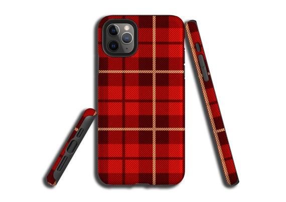 Red Tartan Plaid iPhone 11 Pro Max case, Galaxy Note 10 Plus, iPhone XR, iPhone XS MAX, iPhone 7, Samsung Galaxy S9, Galaxy S10, iPhone 8