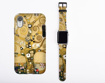 Gustav Klimt iPhone case 13 Pro Max & Apple Watch Band all series Tree of Life watch band phone case set iPhone 11 iPhone 8 Plus iPhone XR