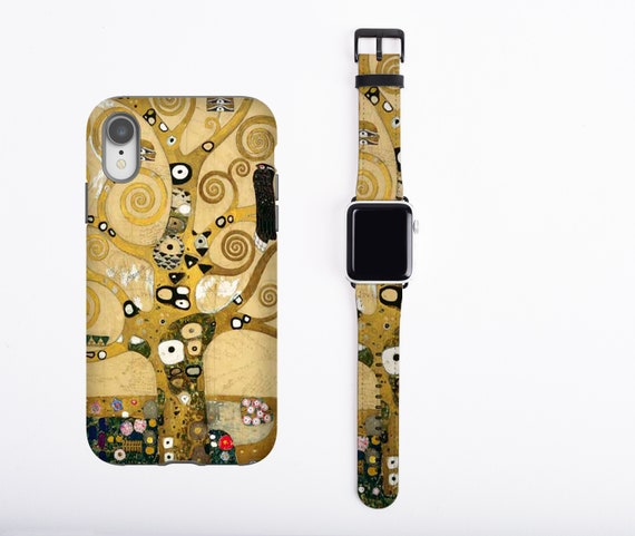 Gustav Klimt iPhone case & Apple Watch Band, Tree of Life apple watch strap phone case set, iPhone X, iPhone 8 plus faux leather, 38 / 42 mm