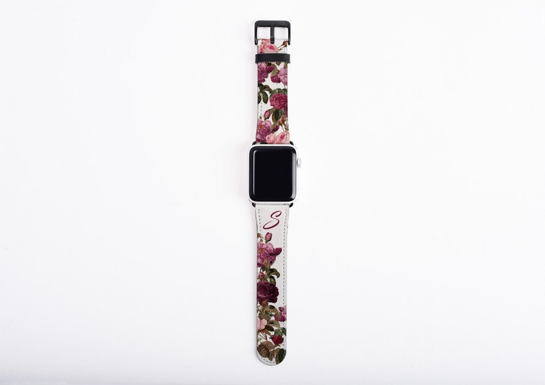 Roses and Butterfly Apple Watch Band with initial floral image 0