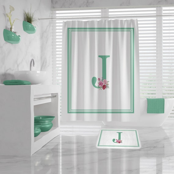 Shower Curtain Custom Monogram, Custom Initial Bath Mat, monogrammed shower curtains, personalized shower curtain, floral letter bath mat