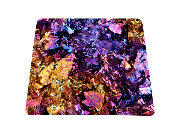 Colorful natural stone mouse pad mineral mousepad crystal mouse mat Chalcopyrite geode druse mousepad for art teacher office mouse pad girls