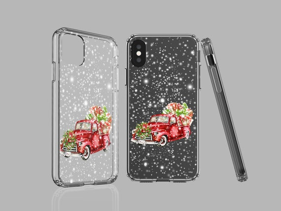 Christmas iPhone 11 Pro Max case, Red Truck, clear case, Samsung Galaxy Note 10, iPhone XS, iPhone XR, Galaxy S9, Google Pixel 4XL, iPhone 8
