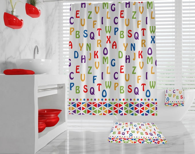 Colorful Letters Kids Bathroom Decor, Alphabet Shower Curtain, different sizes available, cute hand towels for kids, washcloth, bath mat