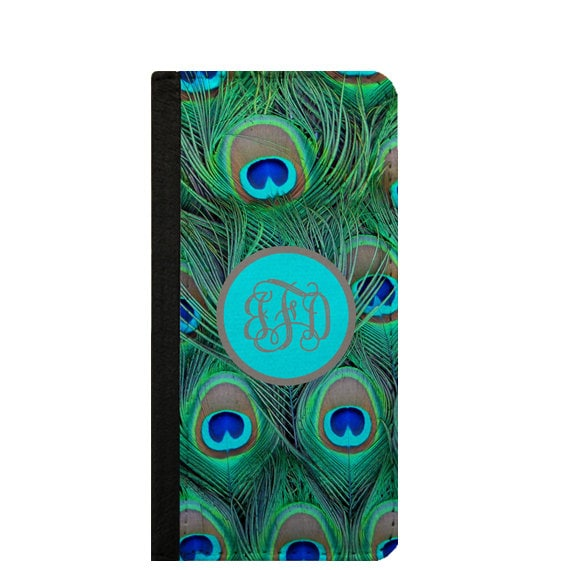 Peacock feathers monogrammed iPhone 6s wallet case Galaxy S6 Edge case Samsung Note 4 iPhone 6s plus iPhone 5c wallet Galaxy S4 Galaxy S5