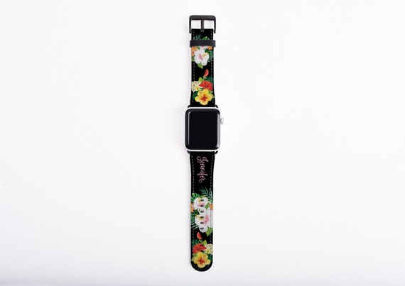 Apple Watch Band custom name, Hibiscus Apple watch strap, loral, faux leather, 38/40 mm, 42/44 mm, custom iWatch, colorful Apple watch strap
