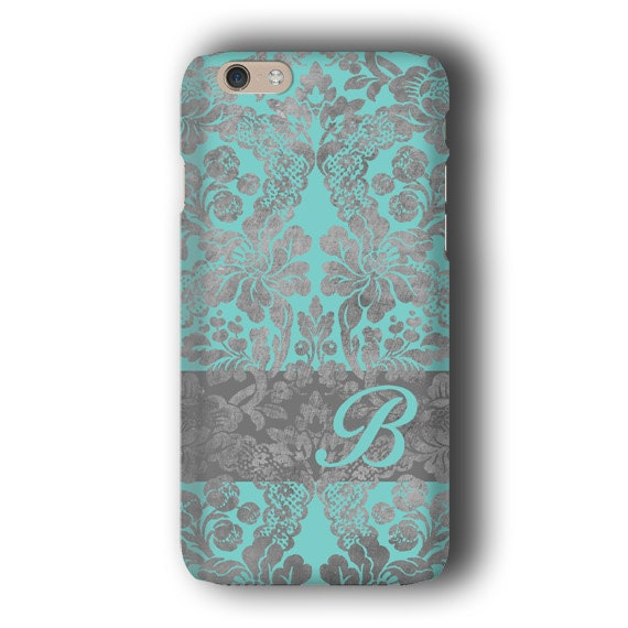 Vintage wallpaper Damask iPhone XS MAX case Personalized Turquoise Samsung Galaxy S10 iPhone 8 plus iPhone 7 Galaxy S9 iPhone SE Galaxy S6