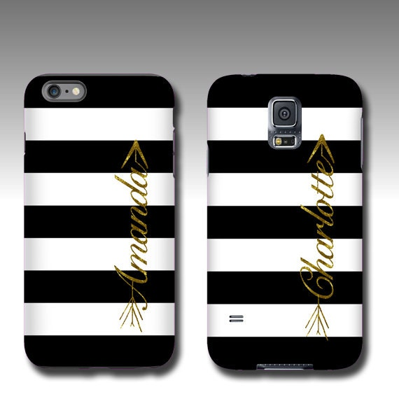 White black stripes with golden glitter name arrow Samsung Galaxy S10 iPhone XR case personalized Samsung Galaxy Note 9 iPhone 8 iPhone XS