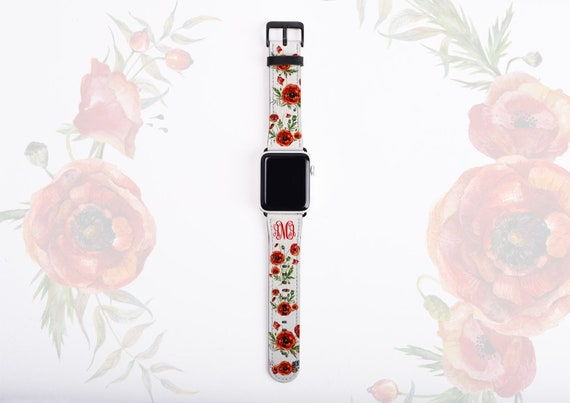 Poppy Flower Apple Watch Band, monogram poppies watch strap, faux leather Apple watch strap, 42mm,38mm,customized iWatch band fit all series