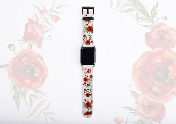 Poppy Flower Apple Watch Band, monogram poppies watch strap, faux leather Apple watch strap, 42mm,38mm,customized iWatch band series 1 2 3 4