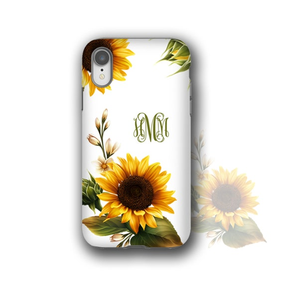 Sunflowers monogram iPhone 11 case, custom Sun Flower iPhone XS MAX, iPhone 8 Case, iPhone 6 Plus Case, Galaxy S10 case, Samsung Galaxy S20