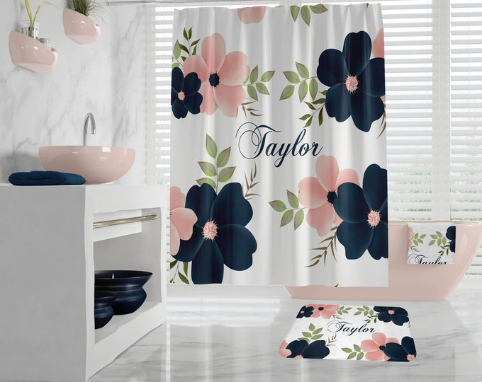 Elegant Floral Custom Monogram Shower Curtain, large flowers bath mat, towel with name or initial, dark blue peach, daughters bathroom decor