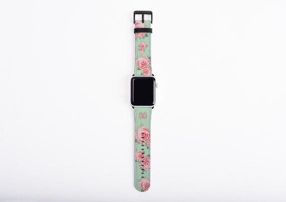 Apple Watch Band for women, Monogram Apple Watch Strap, roses mint green, faux leather, 38 mm, 40mm, 42mm, 44mm, custom iWatch, personalized
