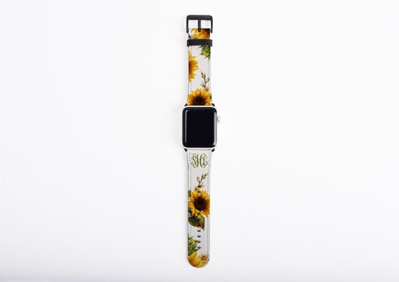 Apple Watch Band sunflowers, custom monogram sun flower watch strap, faux leather, 38 mm, 42 mm, custom iWatch,  floral Apple watch strap