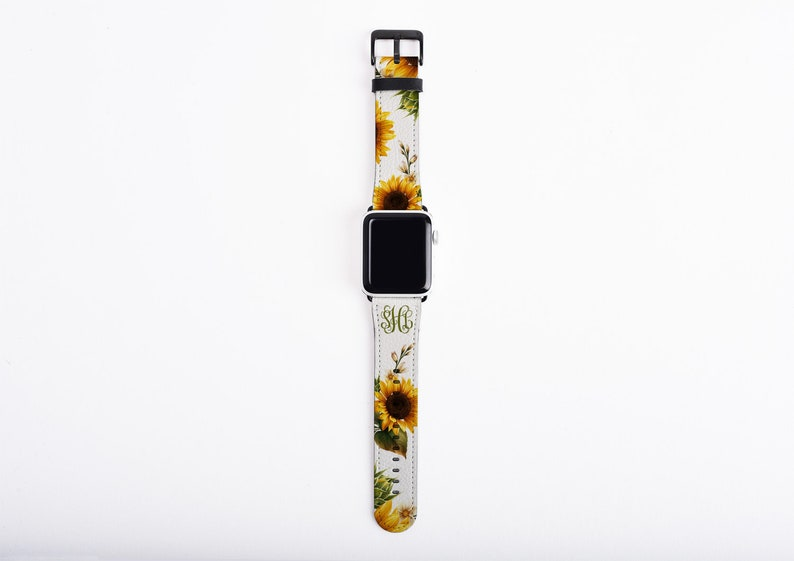 Apple Watch Band sunflowers custom monogram sun flower watch image 0