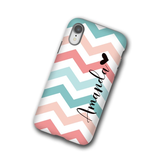 Chevron teal coral iphone 11 case, personalized name iPhone 8, Samsung Galaxy S20, iPhone xs, iPhone 7 Plus, iPhone 6s, Samsung Galaxy S9,