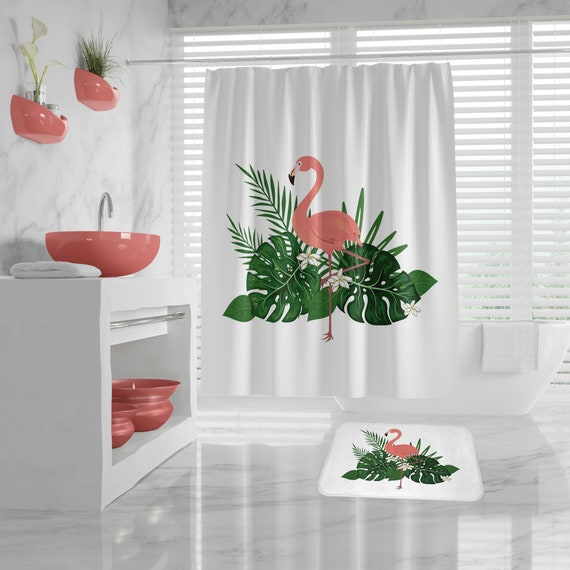 Flamingo Shower Curtain, Flamingo Bath Mat, Tropical leaves Shower curtain, summer design Bath Decor, Girls Bathroom, exotic bathroom decor