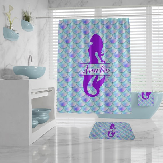 Custom Mermaid Shower Curtain Set, Bath Mat, Bath Towel, Personalized Bathroom Decor Bathroom Makeover Girly Purple Aqua Mermaid Bathroom