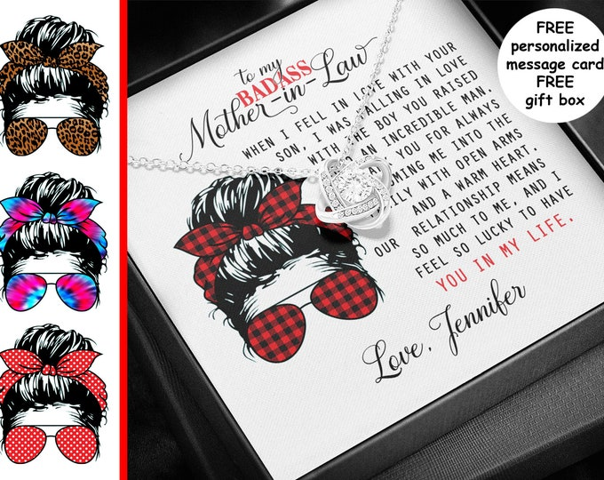 Badass Mother-in-Law necklace personalized card, Messy Bun Leopard Print, 14k white gold over stainless steel Funny Mother in Law gift box
