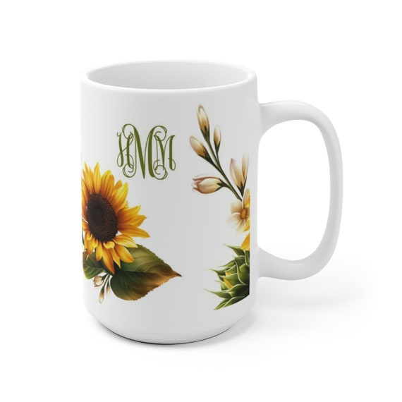 Sunflowers Coffee Mug monogram, Personalized Sunflower Mug, custom coffee cup with monogram, ceramic mug, 2 different sizes, sunflower gift