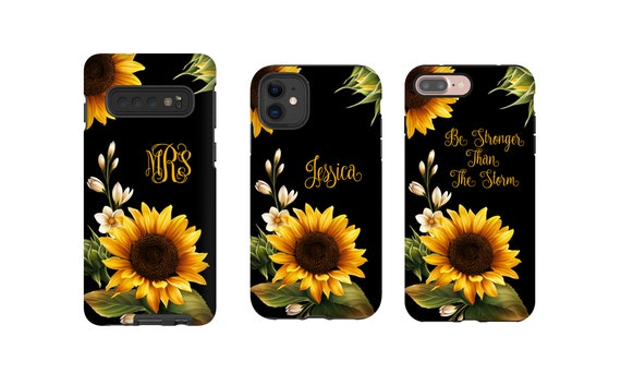 Sunflowers monogrammed iPhone XS Case, Sun Flower iPhone XR case, iPhone 11 Pro Max Case, iPhone 8 Plus Case, Galaxy S10 case, Galaxy Note 9