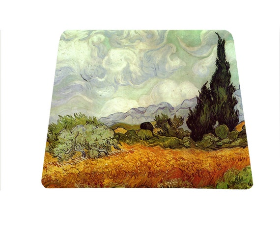 Wheat Fields with Cypress Vincent Van Gogh 19th-century painting mouse pad mousepad mouse mat art lover