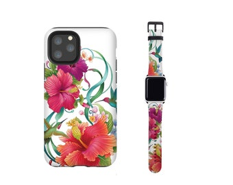 Hibiscus Hummingbird Apple Watch band and iPhone case set, fits all series, iPhone 12 case, iPhone 13, iPhone 8, iPhone xr, vegan leather