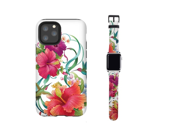 Hibiscus Hummingbird Apple Watch band and iPhone case set, fits all series, iOhone 11 case, iPhone XS, iPhone 8, iPhone xr, vegan leather