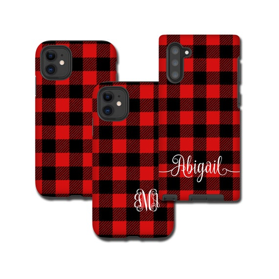 Red Buffalo Plaid iPhone 11 Pro Case, monogram Tartan Samsung Galaxy Note 10 Plus, iPhone XR, Galaxy S20, iPhone 8 Plus, Galaxy S9 black red