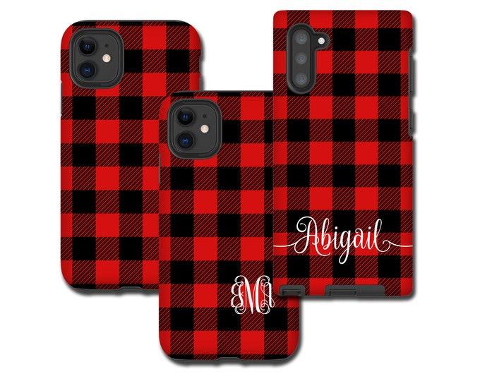 Red Buffalo Plaid iPhone 13 Pro Case, monogram Tartan Samsung Galaxy Note 10 Plus, iPhone XR, Galaxy S20, iPhone 8 Plus, Galaxy S9 black red
