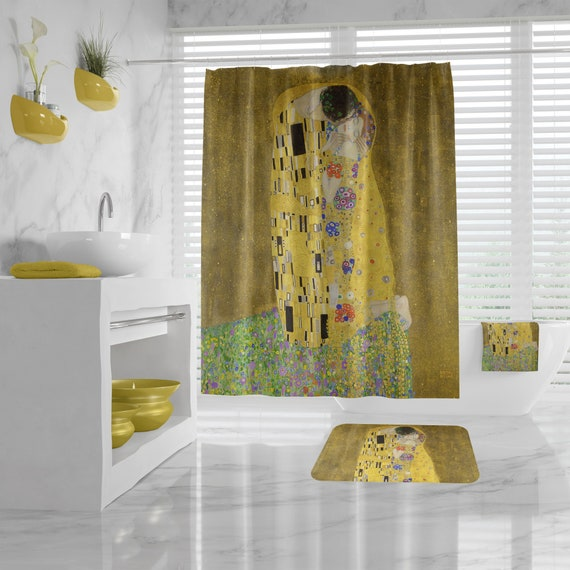 The Kiss Shower Curtain, Gustav Klimt Bathroom Decor, hand towels, Art Print Bath Mat, Bath Towel, art bathroom decor, gift for art teacher