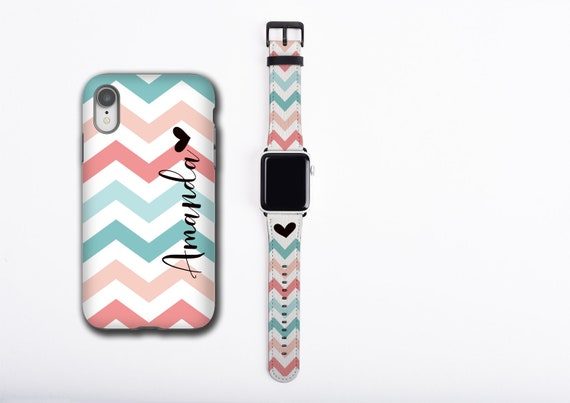 Chevron teal coral iPhone case & Apple Watch Band, personalized name iPhone cover watch strap set, floral design, faux leather, 38 / 42 mm