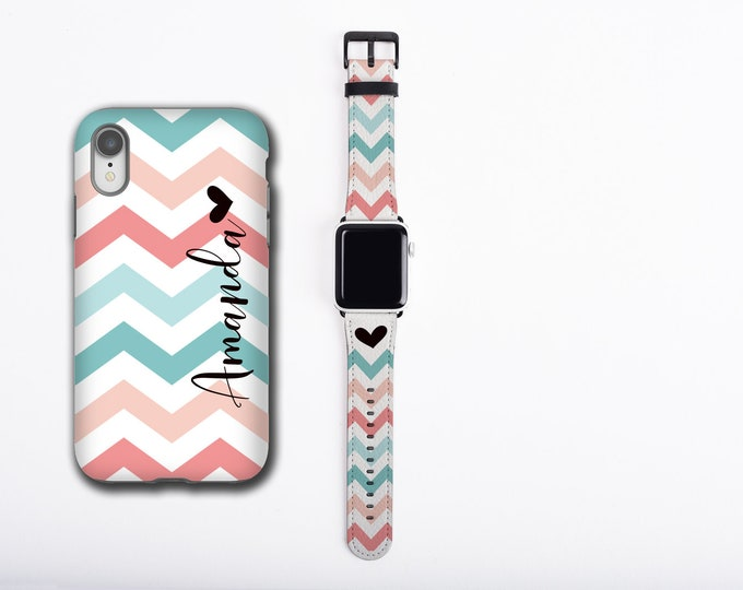 Chevron teal coral iPhone 12 case & Apple Watch Band personalized name iPhone cover watch strap set, floral design, faux leather, 38 / 42 mm